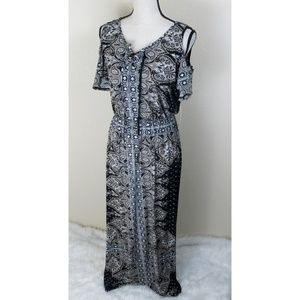Luxology Black and Tan Maxi Dress Size 16 NWT